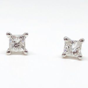 14k White Gold 1/4 CTW Princess Diamond Earrings